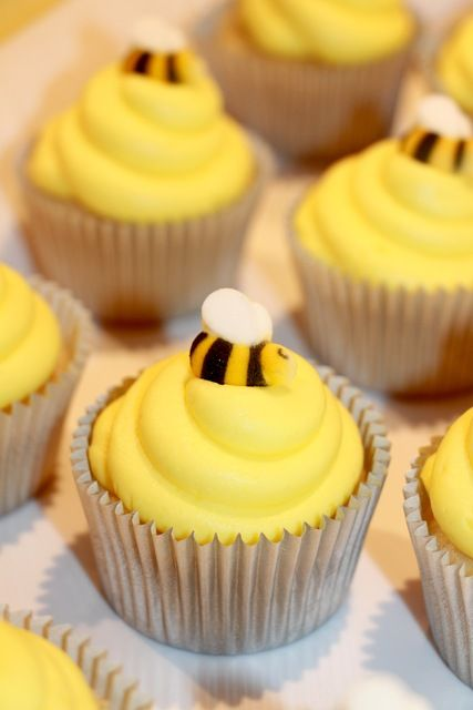 Honeybee cupcakes at a Mommy to Bee Baby Shower!  See more party ideas at CatchMyParty.com!