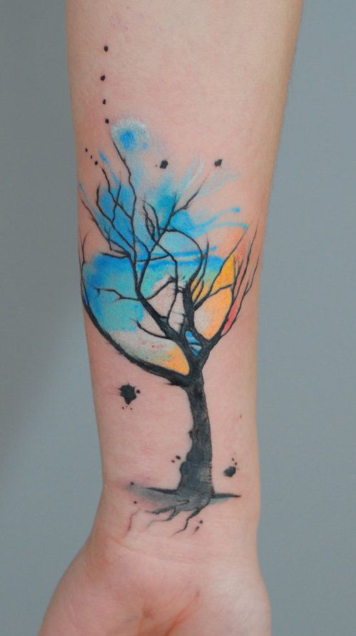 Watercolour tree tattoo - unknown artist