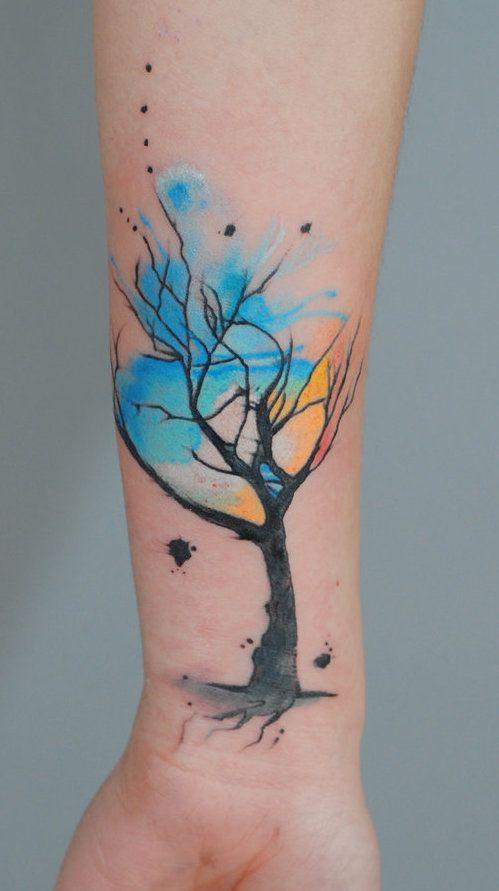 Watercolour tree tattoo - unknown artist