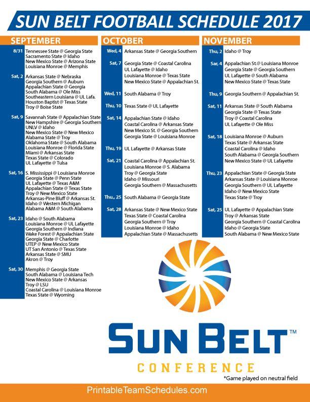 2017 Sun Belt Football Regular Season Schedule