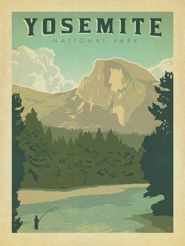 Yosemite Half Dome - Anderson Design Group has created an award-winning series of classic travel posters that celebrates the history and charm of America's greatest cities and national parks. Founder Joel Anderson directs a team of talented Nashville-based artists to keep the collection growing. This print celebrates the majestic grandeur of Yosemite's Half Dome.