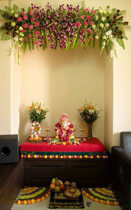 Ganesh chaturthi - really colorful and pretty decorations of mandir/ pooja room with flowers