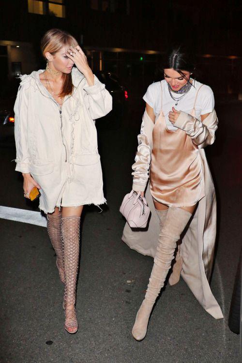 runwayandbeauty:  Gigi Hadid & Kendall Jenner leaving The Nice Guy Club, April 9, 2016.