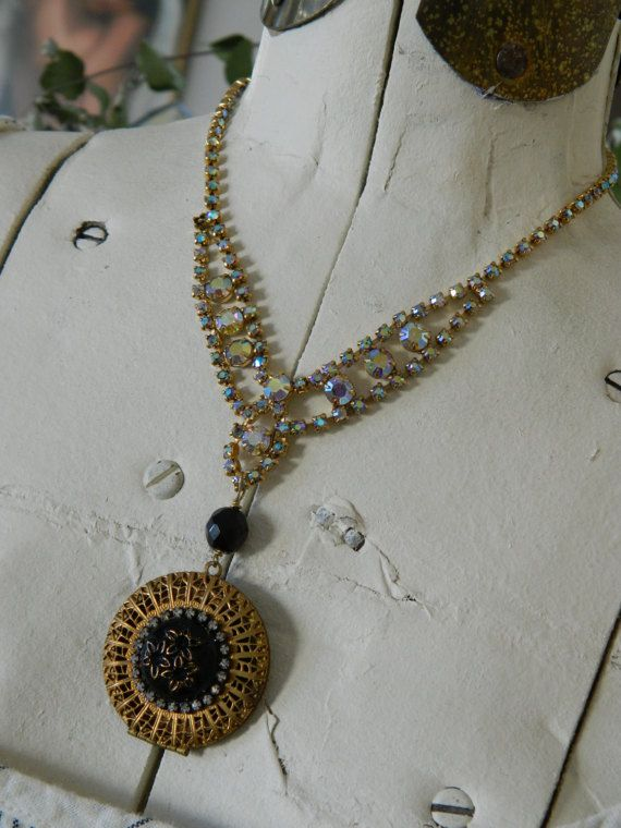 Vintage Locket on Vintage Rhinestone Necklace by by 58Diamond