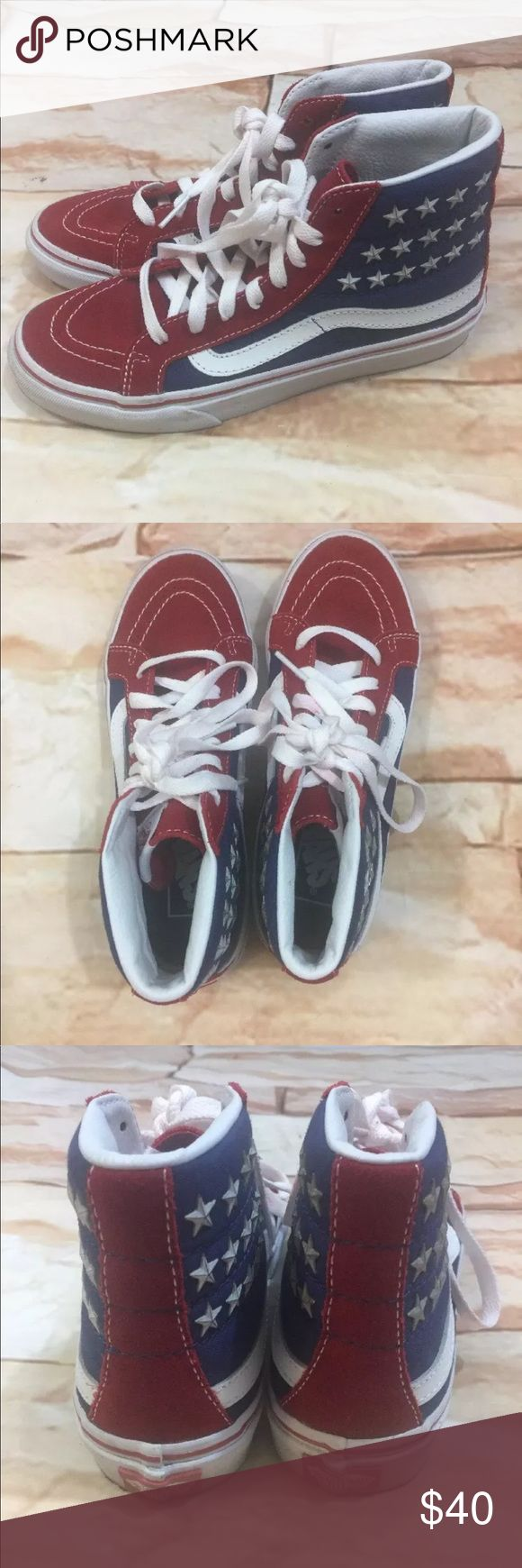 Vans Sk8 Hi Slim Studded Star Flag Print Shoes Vans Sk8 Hi Slim Studded Star Flag Print Shoes Mens 5 / Womens 6.5 Excellent condition! Laces may need to be replaced there is some red fading on them. Vans Shoes