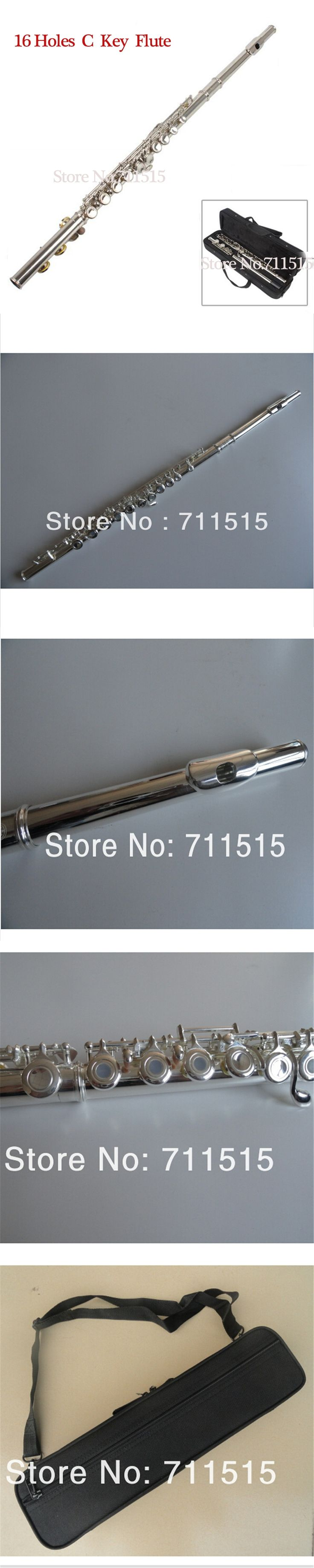 Silver-Plated Western Concert Flute 271s 16 16C Holes C Key Metal Flauta Cupronickel Woodwind Instruments Musical Key Case