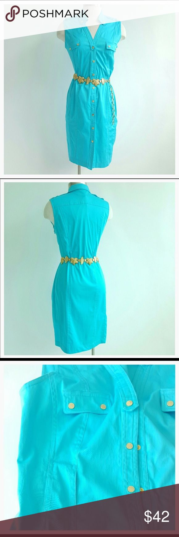 Exquisite Calvin Klein turquoise button down Dress Exquisite Calvin Klein turquoise button down Dress. Beautiful simplicity that will stay in your closet forever. Gorgeous gold tone buttons and side pockets. See photo 4 for additional information. Excellent used condition. Reposh. Please ask questions and look at all photos and descriptions carefully before purchase. 🛍🛍Press like on this or any items in my closet, and follow me, to receive future price updates. Thank you for visiting my…