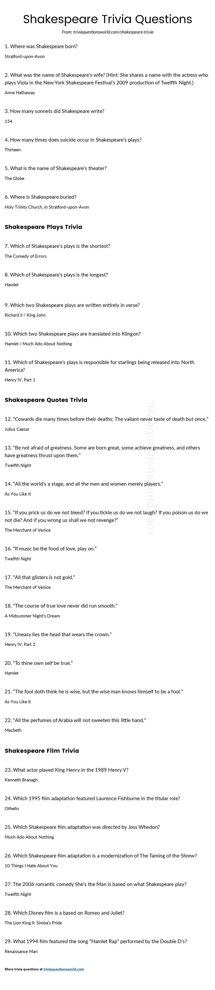 Lots of great shakespeare trivia questions and answers