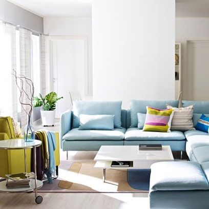 Pale Blue L Shaped Sofa