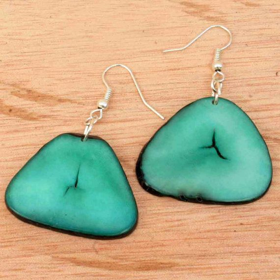 Mint Green Earrings  Vegetable Ivory  Cool by ArtisansintheAndes
