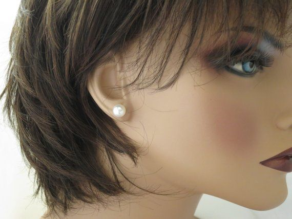 Swarovski Pearl Stud Earrings Simple Wedding 8mm Bridal Post