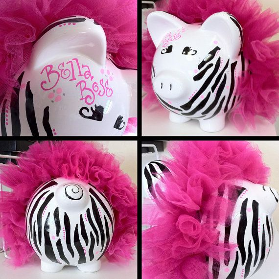 Ceramic Piggy Bank - custom personalized to fit every room decor or childs personal style via Etsy