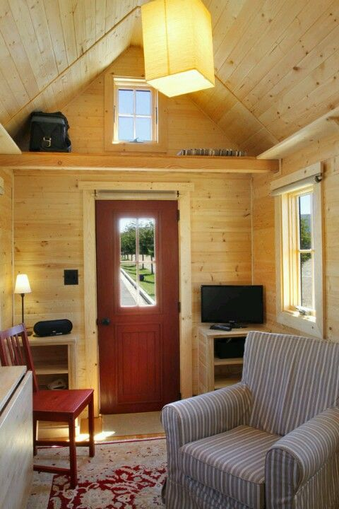 tiny house interior wood walls look cozy