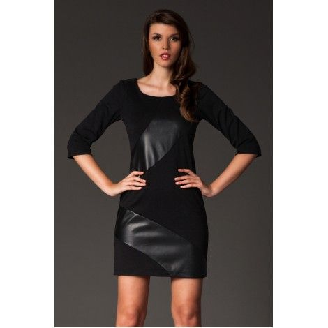 Rochie mini neagra cu insertie de piele