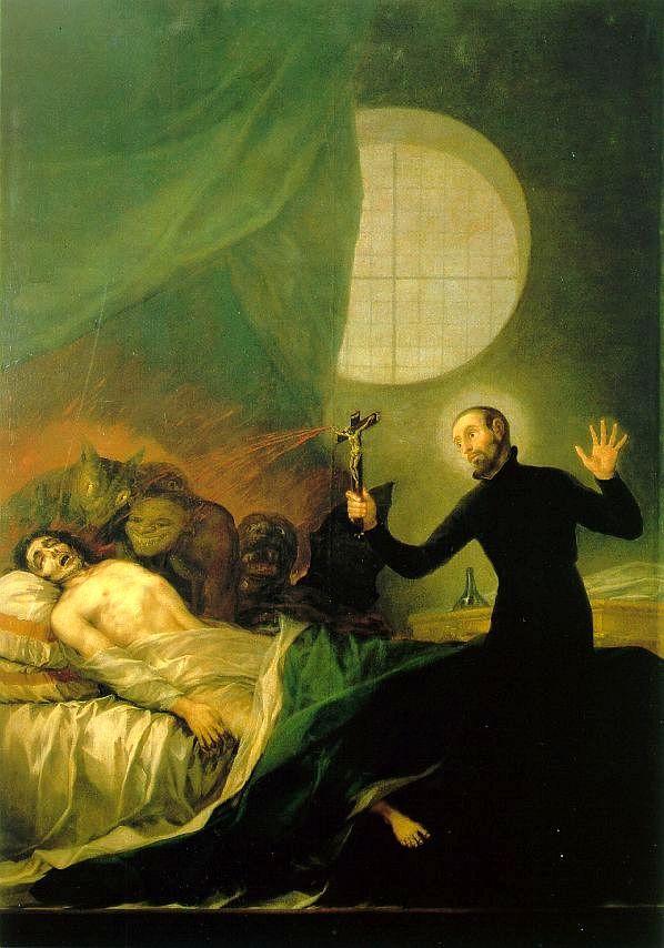 San Francisco de Borja y el moribundo impenitente. Capilla de San Francisco de Borja de la Catedral de Valencia