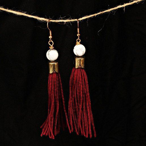 GOOD GIFT MORNING!! from these precious marsala #tassel babies :) The white stone is #HOWLITE :)
