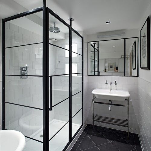 This Shower Looks Fantastic In This Small Black And White Bathroom   The  Clean Black Lines Keep It Looking Neat, Tidy And Contemporary   Great  Styling.