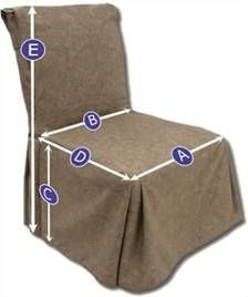 Sizing chart: stocked ready made dining chair covers and slipcovers. Guide 1