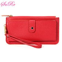 Candy Color Leather Coin Purse Card Clutch Zipped Handbag