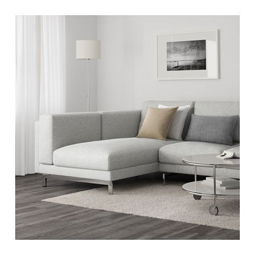 NOCKEBY Sectional, 3-seat left - left/Tallmyra white/black, chrome plated - IKEA