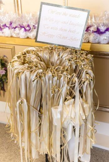 gold ribbon wand wedding send off exit ideas, ribbon wand diy project from Modern DC Newseum wedding by Holly Chapple Flowers, Michelle Lindsay Photography