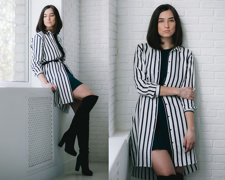 over the knee boots, white stripe long shirt, look, outfit, street style, russia