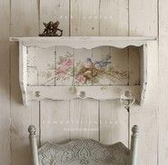 Shabby Chic  Vintage Style Bluebird and Roses Shelf with Crystal Knobs