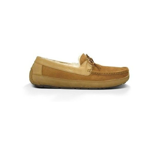 Ugg Byron Slippers (2,210 EGP) ❤ liked on Polyvore featuring men's fashion, men's shoes, men's slippers, chestnut, ugg mens shoes, mens leather slippers, mens leather shoes and ugg mens slippers