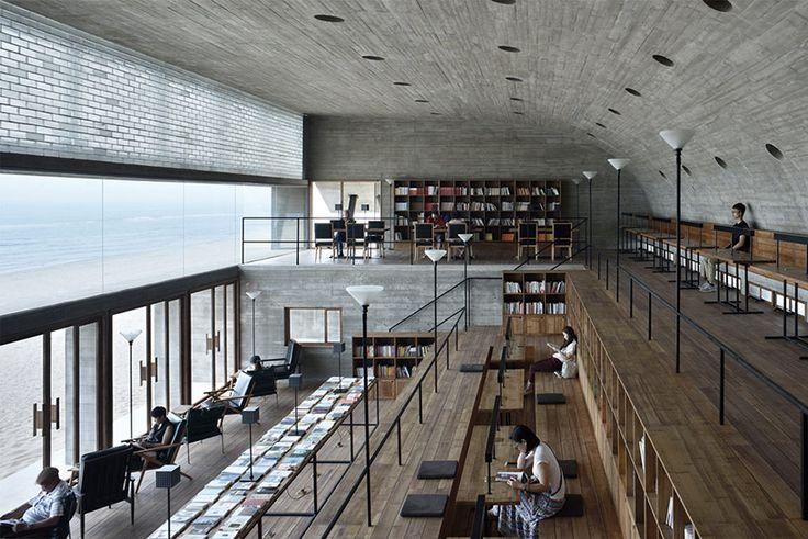 vector architects casts seashore library at water's edge, china