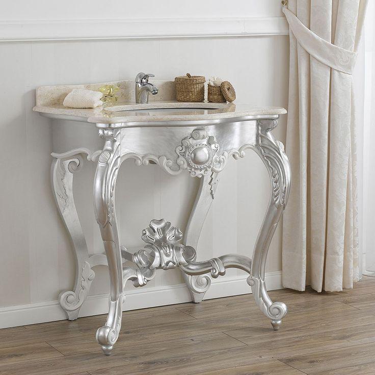 Consolle stile Barocco Moderno, foglia argento, particolari bianco laccato