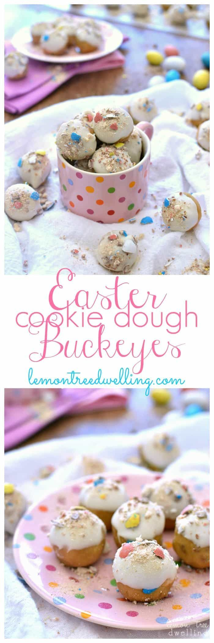 Easter Cookie Dough Buckeyes are made with peanut butter cookie dough and stuffed with malted milk balls and dipped in white chocolate. A pretty pastel sweet treat that's perfect for Easter!  I apologize in advance if you get bombarded with March Madness talk this week.....it's just that the Badgers are in the Final Four! And around here, that's exciting news!  I must admit - we started out the whole March Madness thing this year with a bit of a chip on our shoulders. Since Marqu...