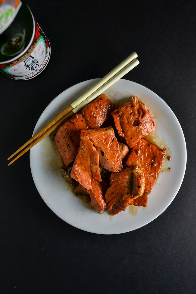 Quick and Easy Teriyaki Glazed Salmon // Pan-cooked salmon coated in a super simple, three-ingredient teriyaki sauce.