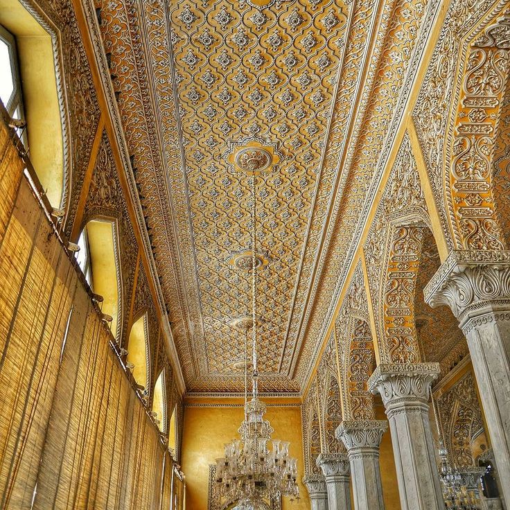 The ornate ceiling of the Roshan Bangla building in the Chowmohalla Palace with its intricate designs captured on a late July morning in all it's glory.  The Chowmahalla Palacewhich translates into Four Palaces is a palace of theNizams ofthe earstwhile Hyderabad state. It was the seat of the Asaf Jahi dynasty and was the official residence of the Nizams of Hyderabad while they ruled their state.  #southeastasia #travel #travelgram #archaeology #traveladdict #traveltheworld #travelshots…