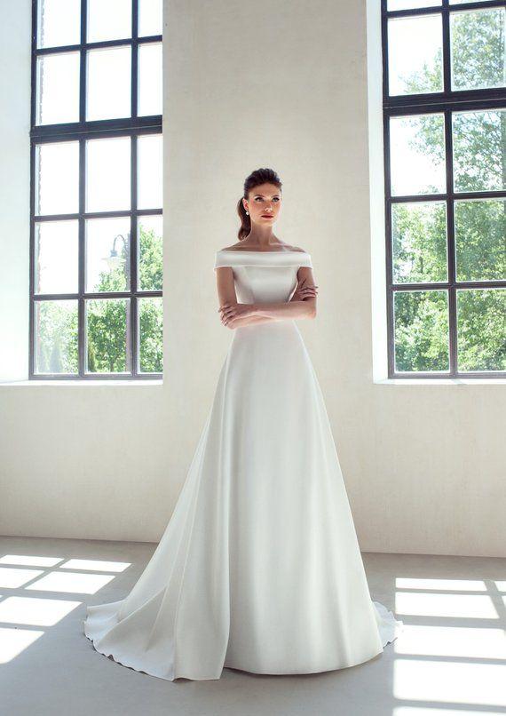 Klassische Hochzeit Kleid Elfenbein Weiss Erroten Boho Hochzeitskleid