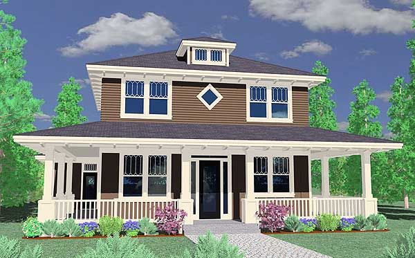 Traditional Four Square Home Plan - 85027MS | Country, Traditional, Narrow Lot, Photo Gallery, 2nd Floor Master Suite, CAD Available, Den-Office-Library-Study, PDF, Wrap Around Porch | Architectural Designs