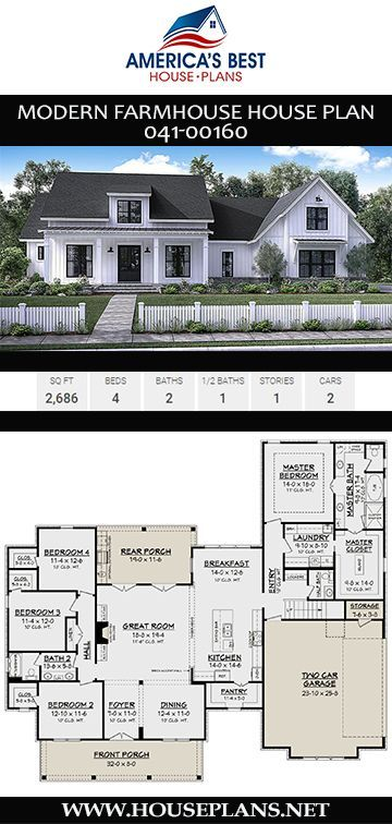 A Gorgeous 1 Story Modern Farmhouse Plan 041 00160 Is Designed