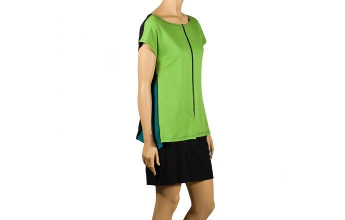 Top combina verde pistacho, turquesa y negro con costura central #ModaVerano #Casula