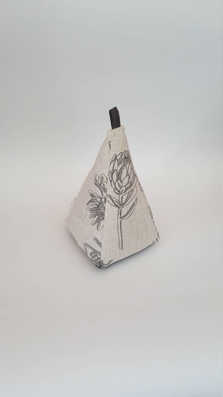 Excited to share the latest addition to my #etsy shop: Fabric Doorstop, Pyramid Shaped, Beige & Black Protea, Heavy Fabric Door Stop 108 http://etsy.me/2Cm9cLh #housewares #homedecor #tan #beige #cream #brown #strong #pyramidshaped #textured