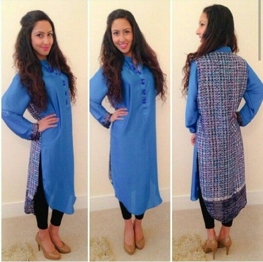 Love this blue long kurtha with a print at the back.