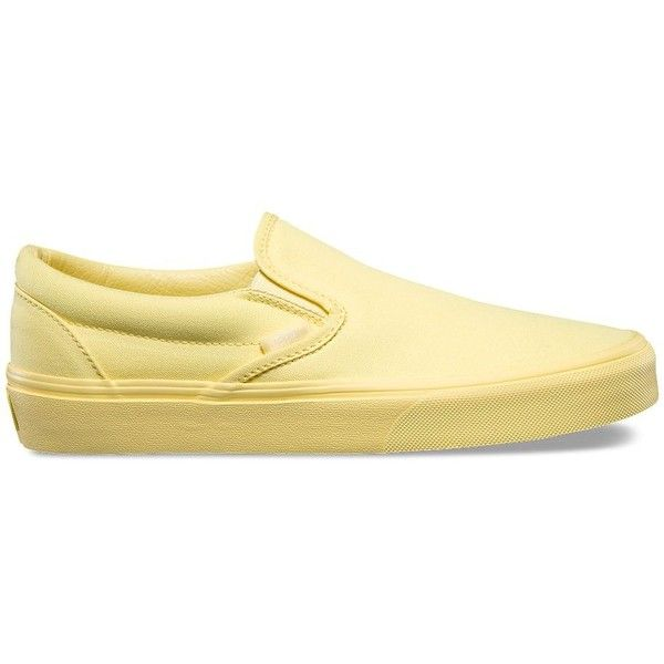 Vans Mono Canvas Slip-On ($50) ❤ liked on Polyvore featuring shoes, yellow, vans shoes, slip on shoes, canvas low tops, low top canvas shoes and vans footwear