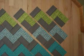 How to make a chevron quilt without sewing triangles. This is really simple, and would go together really fast, and you could make it any size very easily.