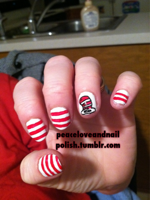Dr Seuss Nail Art Cat In The Hat This Is Easy Enough Well If I Can T Have Lorax Then Surely