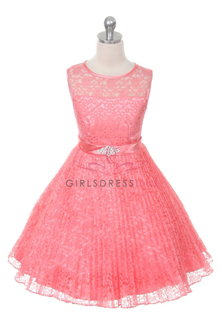Coral Lace Pleated Flower Girl Dresses A3527-CR $42.95 on www.GirlsDressLine.Com