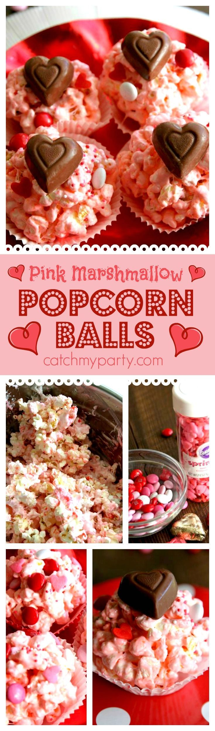 Pink marshmallow popcorn balls perfect treat for Valentine's Day. Make them in 10 minutes in the microwave. Great to serve at a kids Valentine's Day party. See more party ideas at http://CatchMyParty.com.