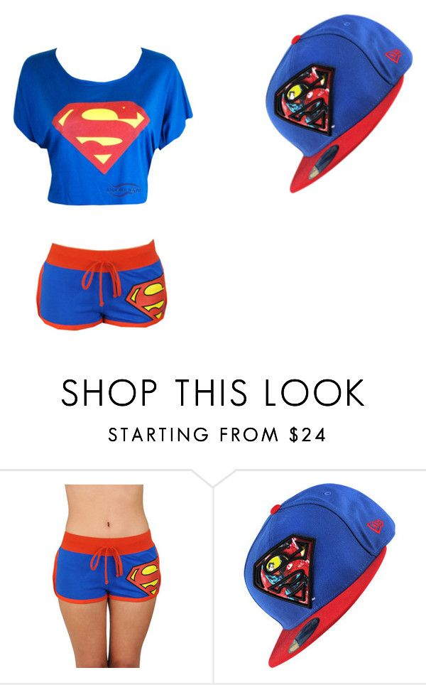 """""""Superman (Movie Night outfit in """"VEGAS GIRL"""")"""" by mrsbertiebertg ❤ liked on Polyvore featuring Bioworld and New Era"""