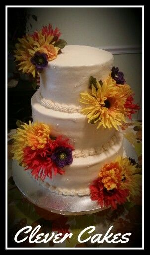 Love this fall rustic wedding cake