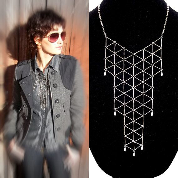 Geometric bib necklace silver tone statement by LogicFreeDesign
