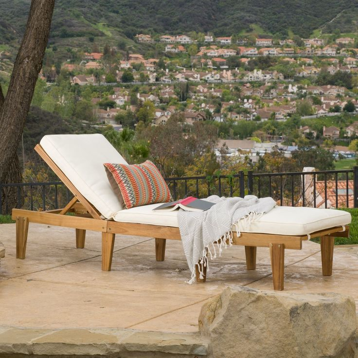 Christopher Knight Home Ariana Outdoor Wood Chaise Lounge with Cushion