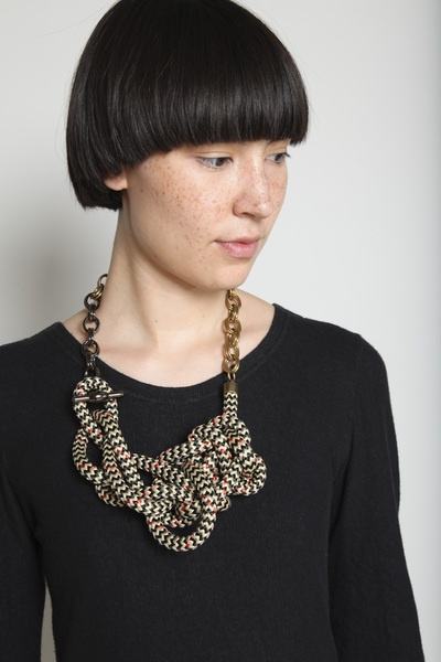 Orly Genger. Magnolia Necklace. Cotton, brass, metal.