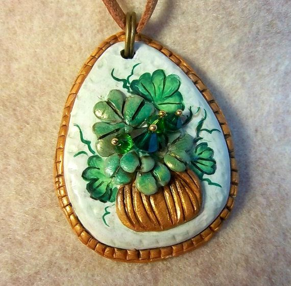 Check out this item in my Etsy shop https://www.etsy.com/listing/270306215/shamrock-pendant-polymer-clay-green-and